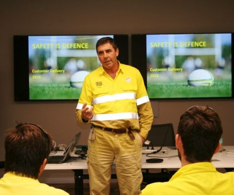 Mark Biffanti talks to staff at the Ergon depot at Garbutt