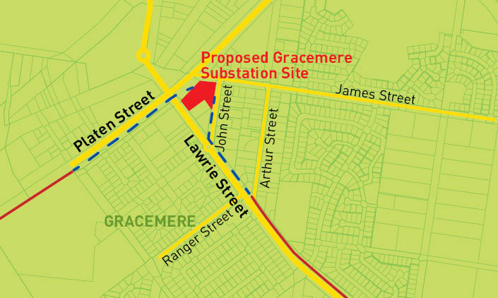 Map of the proposed Gracemere substation site and surrounding area