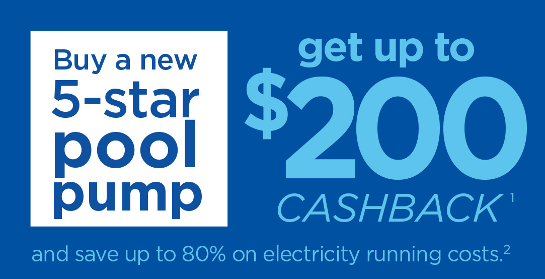 Image promoting cashback offer for 5-star pool pump