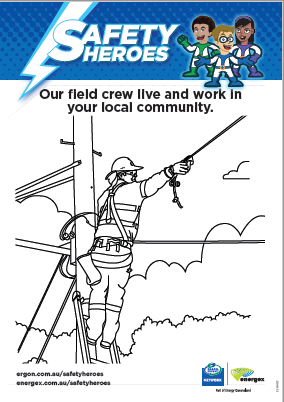 Safety Hero colouring sheets
