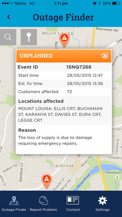 Ergon 24seven app - Outage Finder