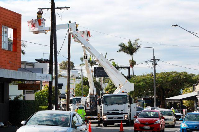 Energex crews working in Brisbane