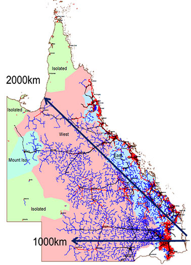 A map of Queensland show the extent and reach of our electricity network