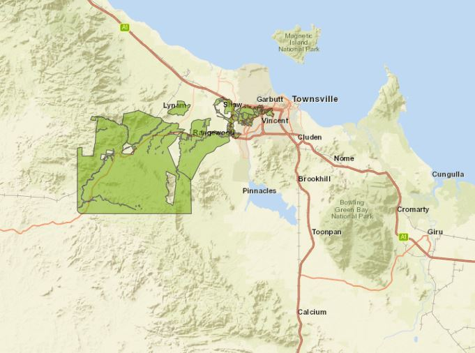 Map of Queensland showing demand management incentive area in Townsviller