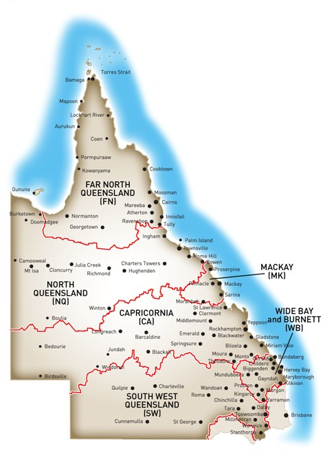 Map of Queensland showing Ergon Energy's Tariff 33 switching times by region.