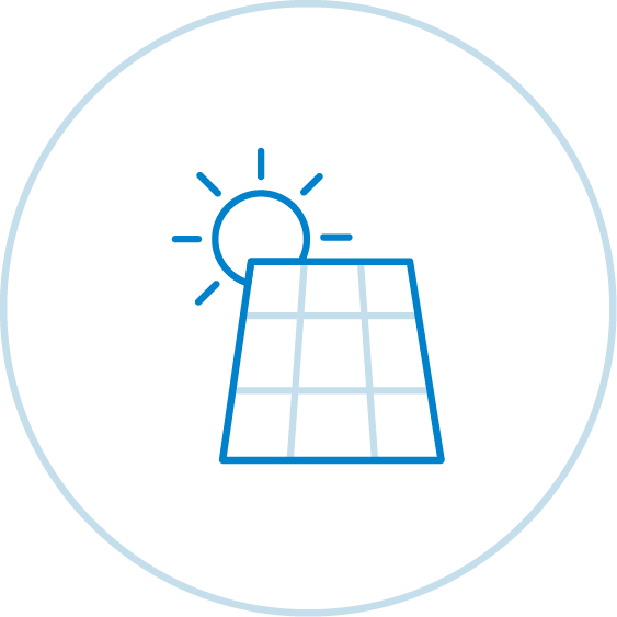 Graphic of a solar panel and the sun