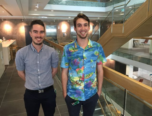 Piocutre of two young male graduate electrical engineers Jason Hockings and Adrian Lloyd
